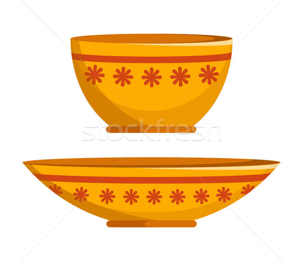 Two Different Shapes Plates Vector Illustration Stock photo © robuart