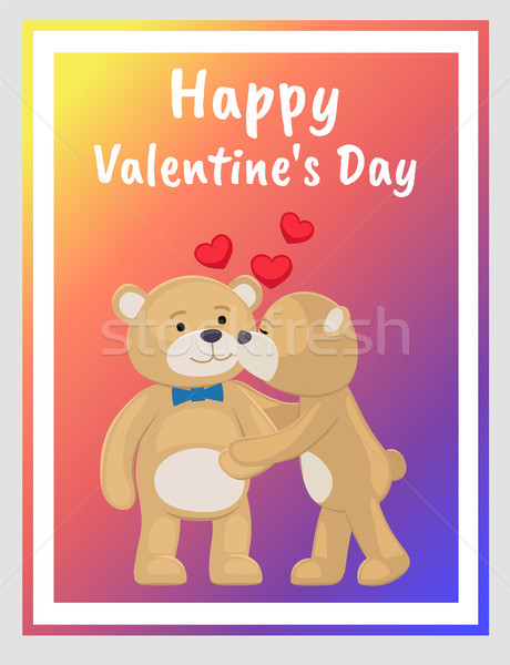 Teddy Bears Couple, Female Kisses Male in Cheek Stock photo © robuart