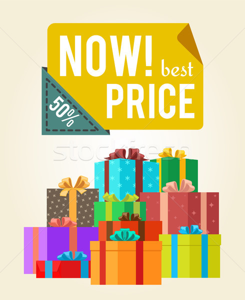 Now Best Price Push Buttons Promo Label on Banner Stock photo © robuart