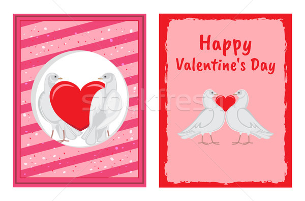 White Doves Couples with Heart Illustrations Set Stock photo © robuart