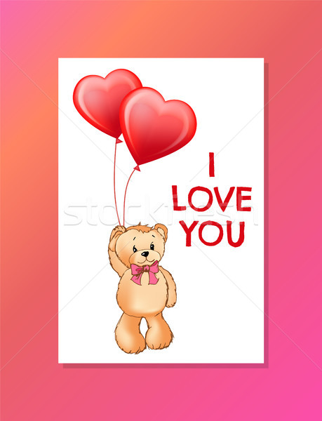 I Love You Inscription on Poster Cute Teddy Bear Stock photo © robuart