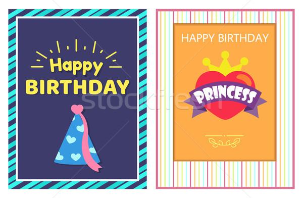 Urodziny princess karty pasiasty wielobarwny ramki Zdjęcia stock © robuart
