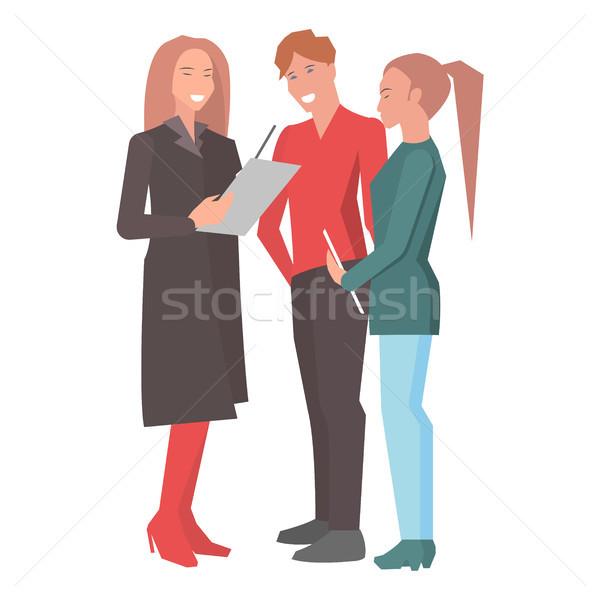 二人の女性 男 立って レポート 孤立した ストックフォト © robuart