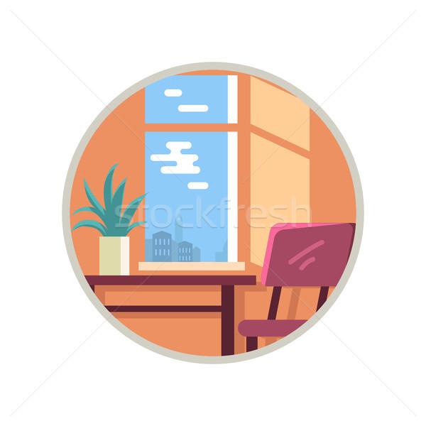Habitación vista hotel ventana ciudad escritorio Foto stock © robuart