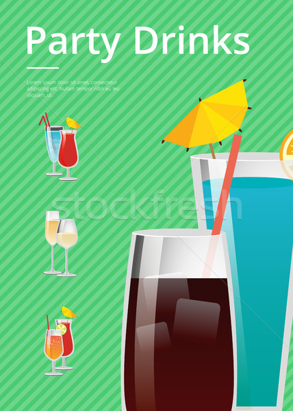 Party Drinks Promo Poster with Cocktail Menu List Stock photo © robuart