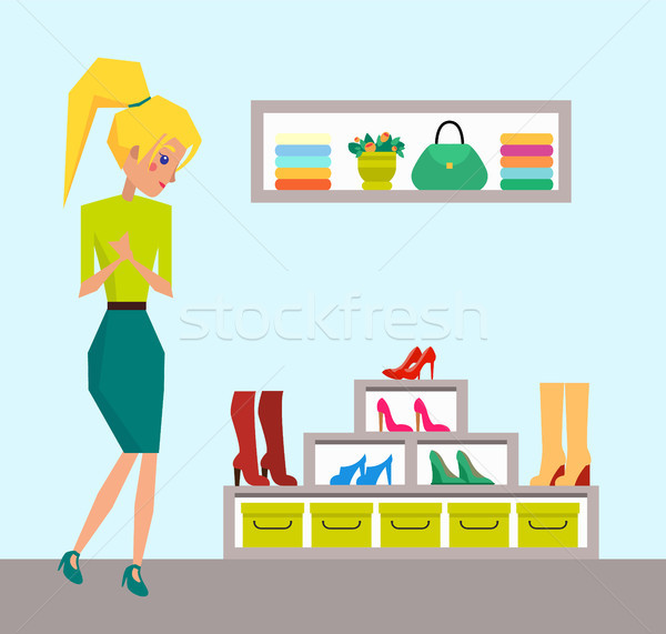 Cute Blonde Looking on Rack with Colorful Shoes Stock photo © robuart