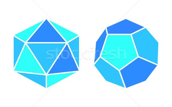 Complicado ícones azul geométrico forma pequeno Foto stock © robuart