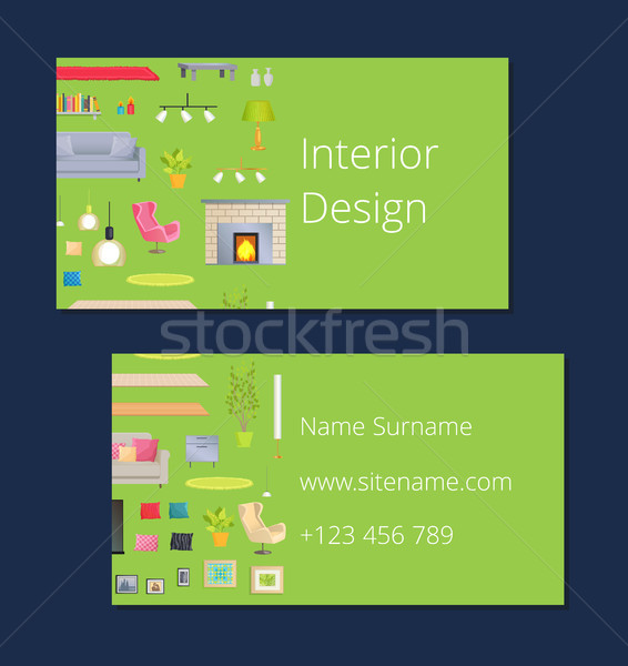 Interior Design Calling Card Vector Illustration Stock photo © robuart