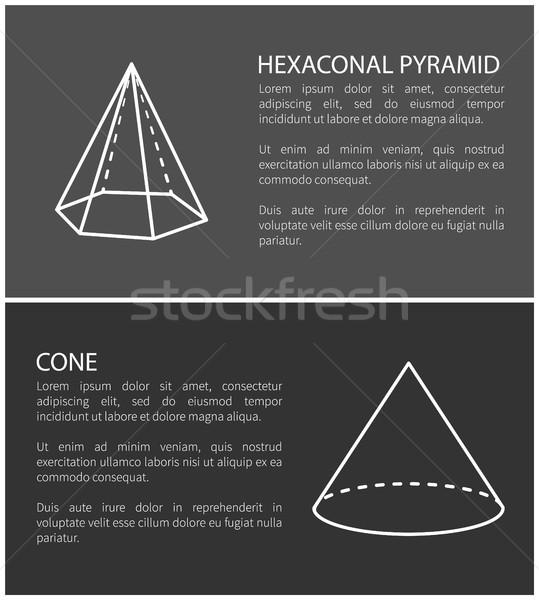 Hexagonal Pyramid and Cone Set Vector Illustration Stock photo © robuart