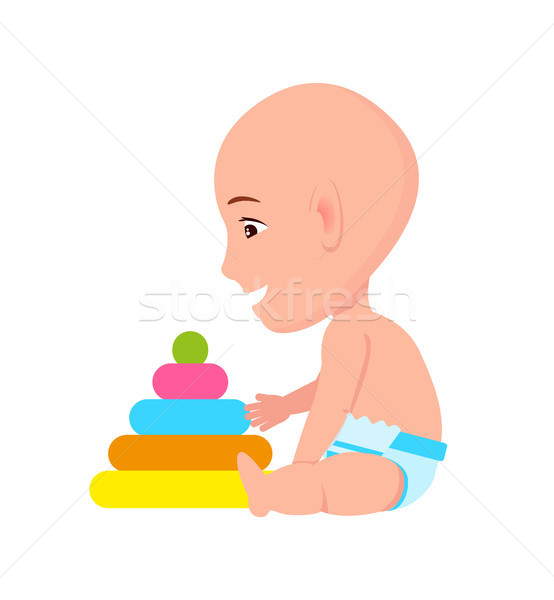 Bald Toddler Infant in Diaper Playing with Pyramid Stock photo © robuart