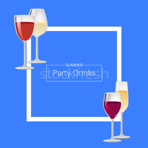 Summer Party Drinks Color Vector Illustration Stock photo © robuart