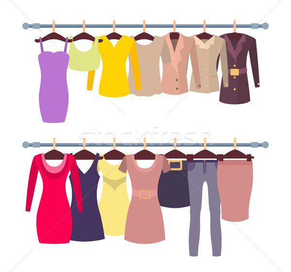 Racks with Female Tops and Dresses on Hangers Stock photo © robuart