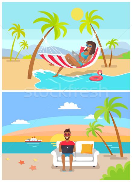 Freelance by Seaside Set, Vector Illustration Stock photo © robuart