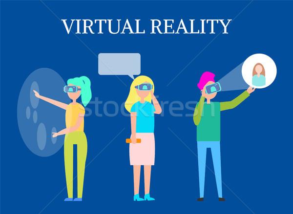 Virtuale realtà moderno interattivo tecnologia isolato Foto d'archivio © robuart