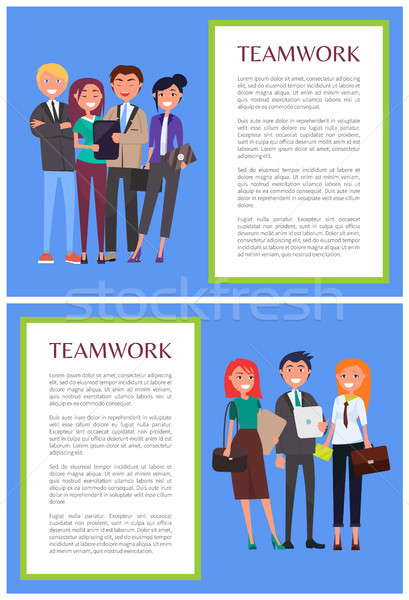 Teamwork Informative Banners Set with Sample Text Stock photo © robuart