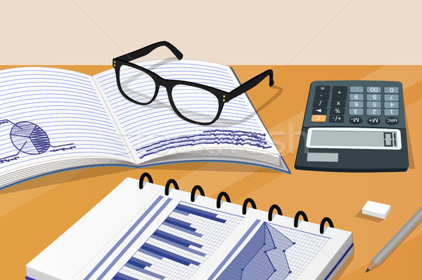 Stock photo: Notebook and Calculator Set Vector Illustration