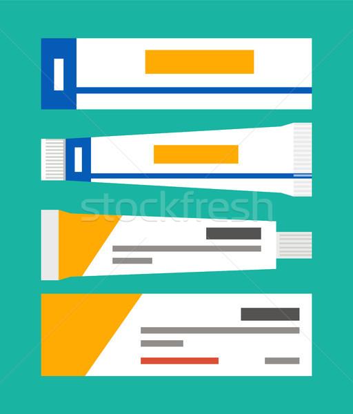 Kenőcs csövek gyűjtemény információ csomagolás szett Stock fotó © robuart