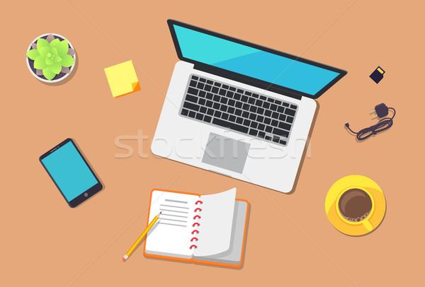 аннотация месте красочный ноутбука смартфон синий Сток-фото © robuart