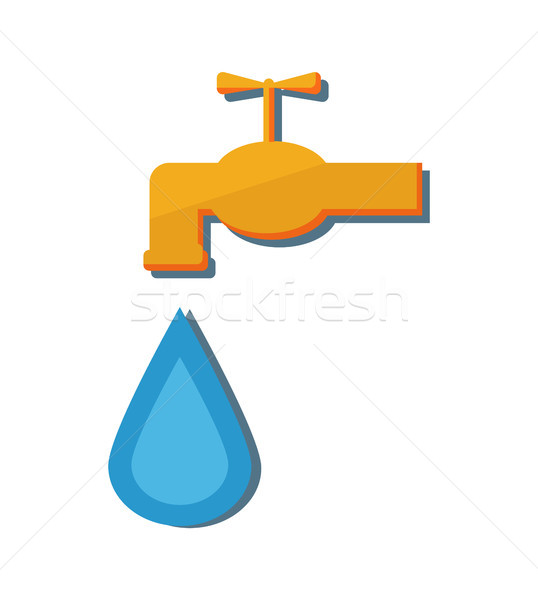 Metal Water Tap Falling Drop Vector Illustration Stock photo © robuart