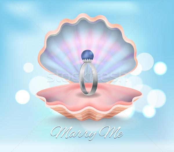 Allegro me anello di fidanzamento lucido blu perla Foto d'archivio © robuart