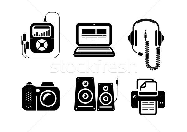 ícones preto multimídia escritório dispositivos Foto stock © robuart
