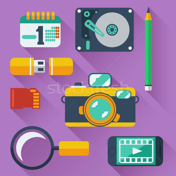 Gegevensopslag iconen digitale camera smartphone Stockfoto © robuart