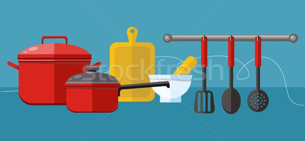Cocina la preparación de alimentos elementos diseno iconos Foto stock © robuart