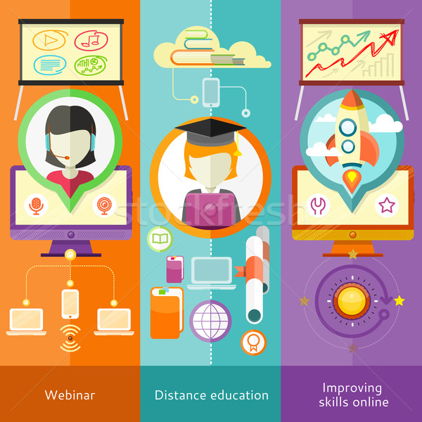 Webinaire distance éducation apprentissage ligne Photo stock © robuart