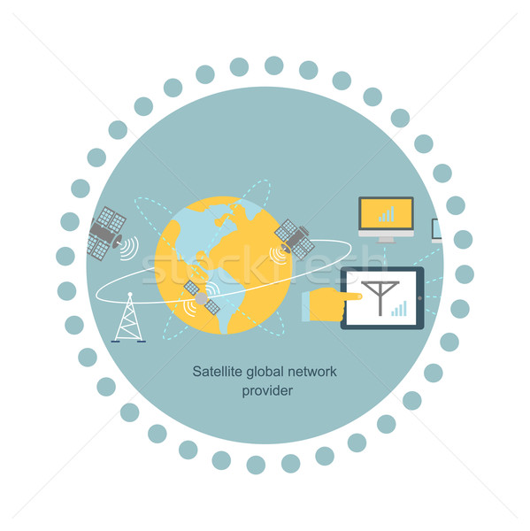 Satellite Global Network Provider Icon Flat Stock photo © robuart