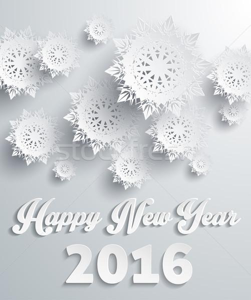 Happy New Year 2016 Snowflakes Background Stock photo © robuart
