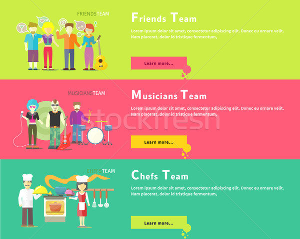 Friends Team. Musicians Group. Chefs People Stock photo © robuart