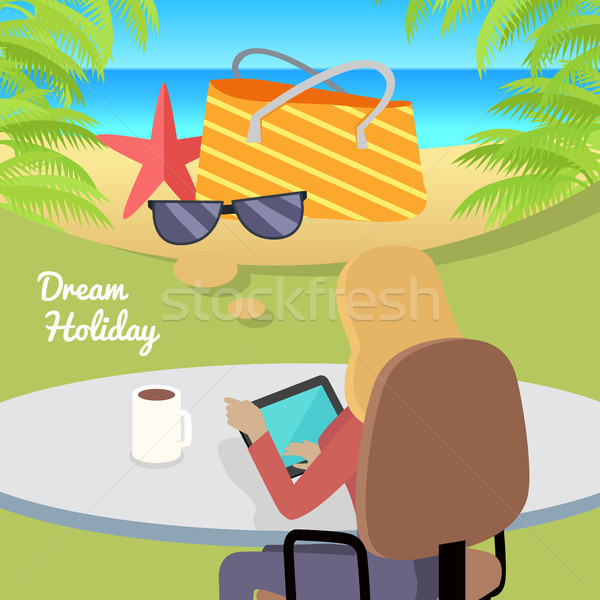 Woman Sitting with Gadget and Dreaming About Rest. Stock photo © robuart
