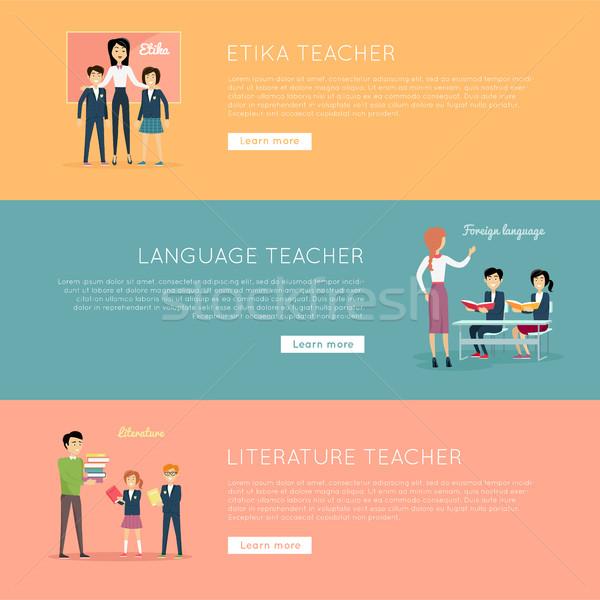 Set of School Teachers Vector Illustration Banners Stock photo © robuart