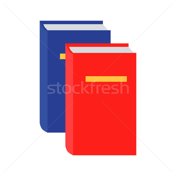 Blue and Red Book Icon in Flat Stock photo © robuart