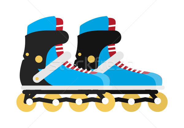 Black and Blue Roller Skate Boots Isolated on White Stock photo © robuart