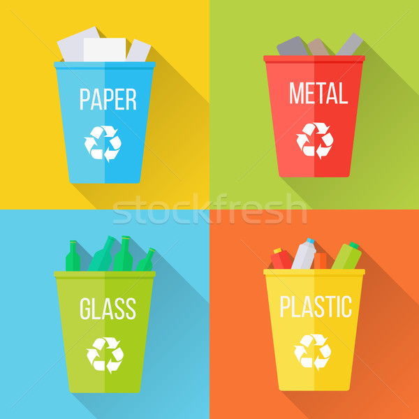 Color Recycle Garbage Bins with Glass Stock photo © robuart