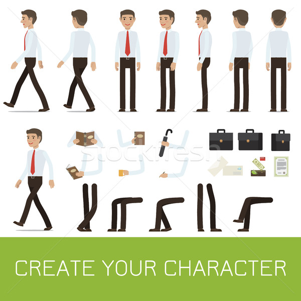 Businessman Character Generator Flat Vector Stock photo © robuart
