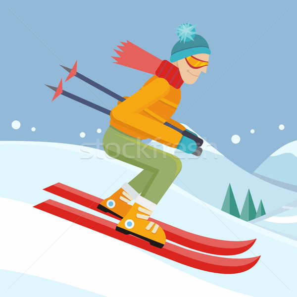 Stock photo: Skier on Slope Vector Illustration in Flat Design