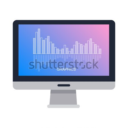 Gray Computer Monitor in Flat. Stock photo © robuart