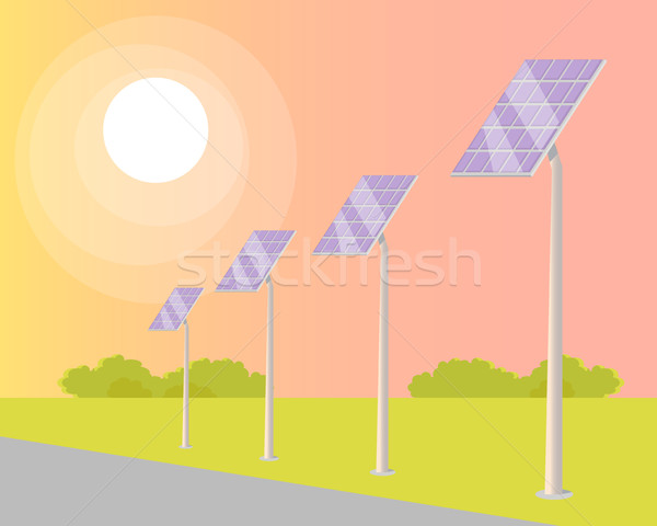 Solar Panels Turned to Shining Sun along Road Stock photo © robuart