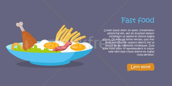 Saboroso fast-food bandeira frito ovos Foto stock © robuart
