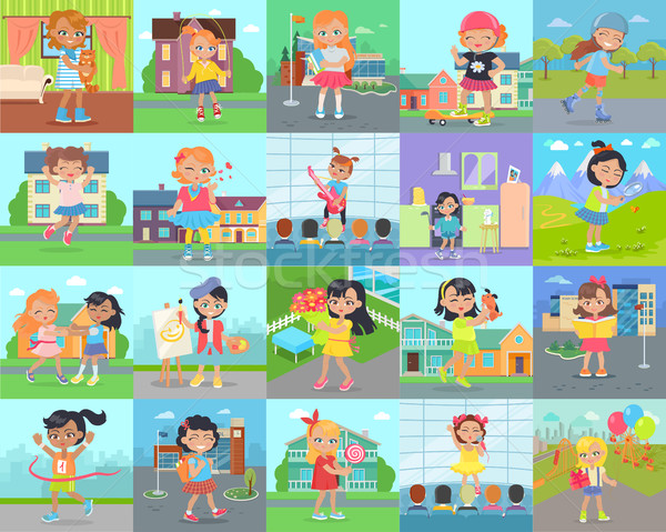 Little Girl Leisure and Hobby Vector Concepts Set Stock photo © robuart