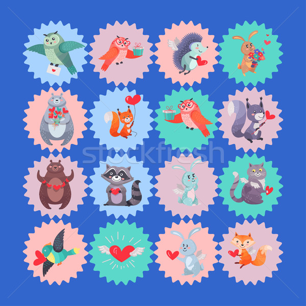 Set of Vector Icons with Cartoon Animal Cupids Stock photo © robuart