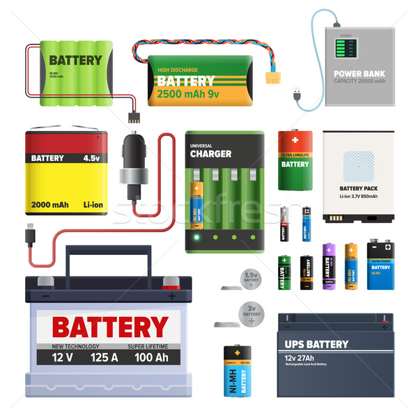Set of Batteries. Primary Cells Power Bank. Vector Stock photo © robuart