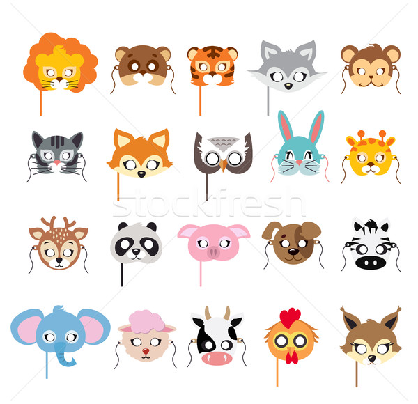 Collection of Different Animal Masks on Faces Stock photo © robuart