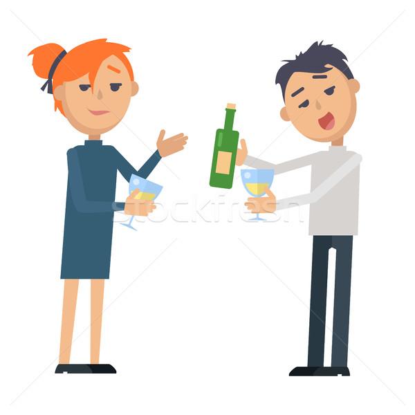Jongen meisje glas wijnfles geïsoleerd witte Stockfoto © robuart
