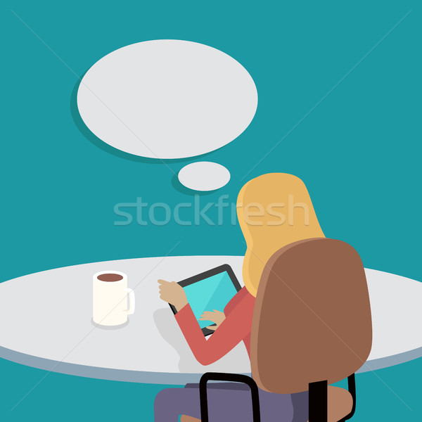 Woman Sitting on Chair with Gadget and Dreaming Stock photo © robuart