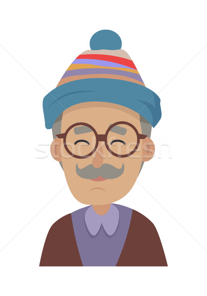 Hat. Old Man Wearing Blue Striped Cap and Glasses Stock photo © robuart