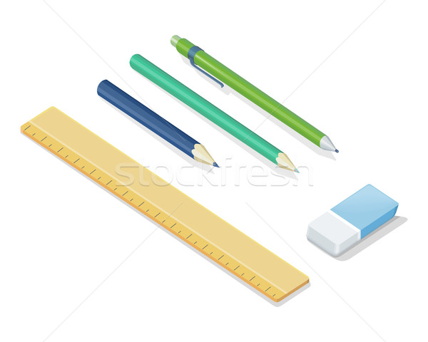 Stationery Vector Set In Isometric Projection  Stock photo © robuart
