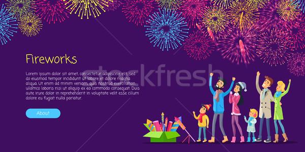 Fajerwerków dorośli dzieci oglądania wybuchu kolorowy Zdjęcia stock © robuart